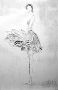나하린, 뛰었던 삐에로, 91x116, oil on canvas, 2015